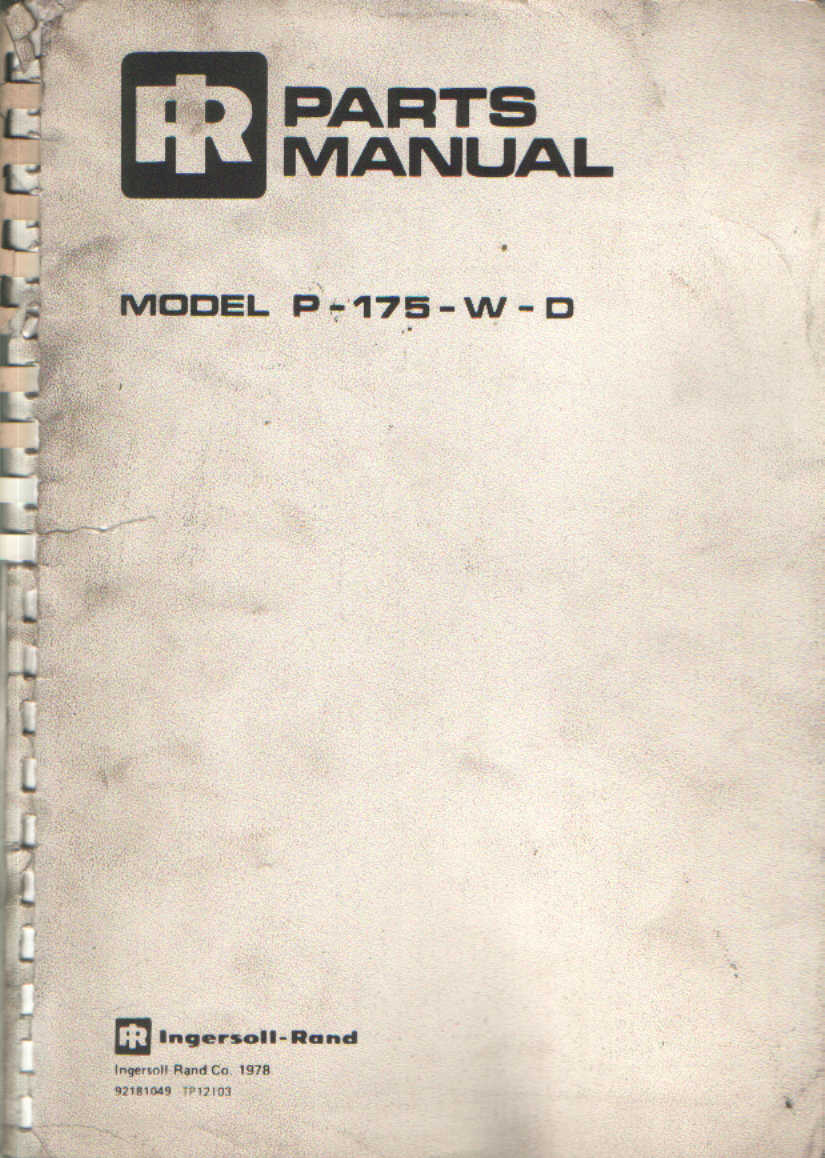 ingersoll rand p175wd parts manual