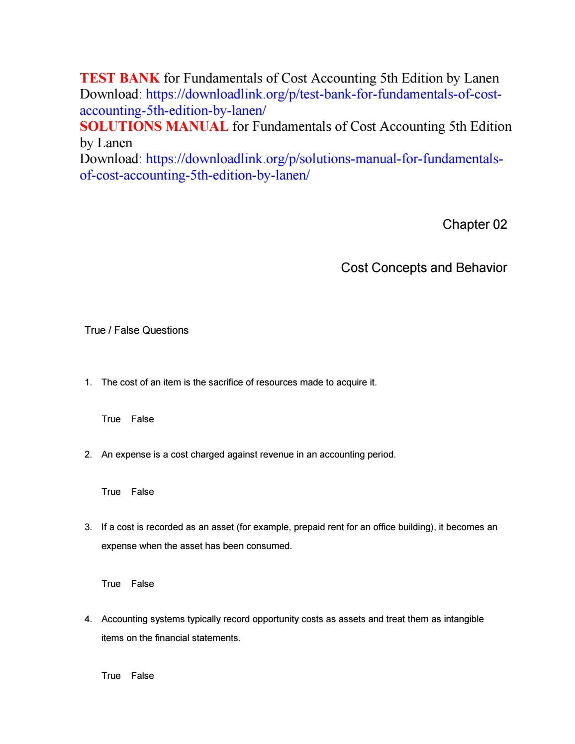 lanen cost accounting chapter 4 solution manual pdf