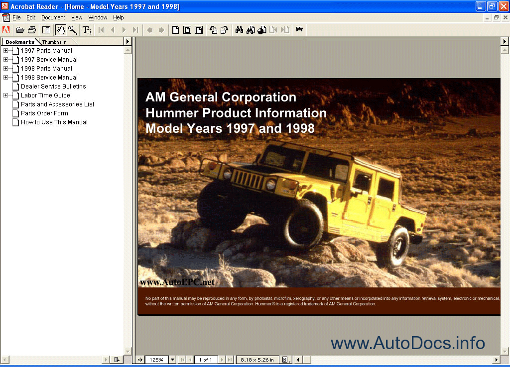 hummer h1 complete factory service repair parts manual